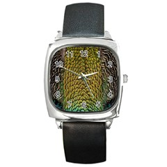 Peacock Bird Feather Gold Blue Brown Square Metal Watch by Alisyart