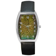 Peacock Bird Feather Gold Blue Brown Barrel Style Metal Watch
