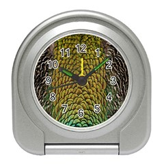 Peacock Bird Feather Gold Blue Brown Travel Alarm Clocks