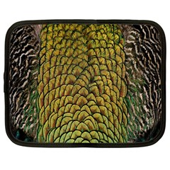 Peacock Bird Feather Gold Blue Brown Netbook Case (large)
