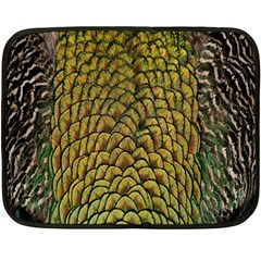 Peacock Bird Feather Gold Blue Brown Double Sided Fleece Blanket (mini)