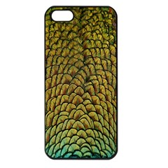 Peacock Bird Feather Gold Blue Brown Apple Iphone 5 Seamless Case (black)