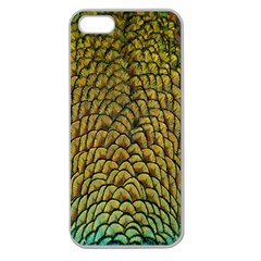 Peacock Bird Feather Gold Blue Brown Apple Seamless Iphone 5 Case (clear)