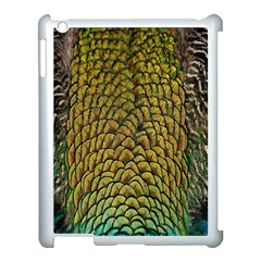 Peacock Bird Feather Gold Blue Brown Apple Ipad 3/4 Case (white)
