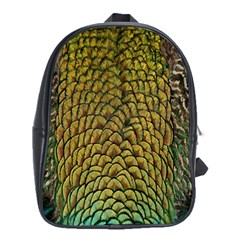 Peacock Bird Feather Gold Blue Brown School Bags (xl)  by Alisyart