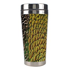 Peacock Bird Feather Gold Blue Brown Stainless Steel Travel Tumblers by Alisyart