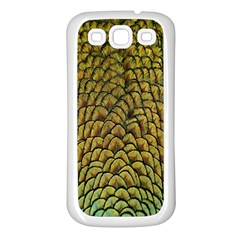 Peacock Bird Feather Gold Blue Brown Samsung Galaxy S3 Back Case (white)
