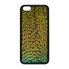 Peacock Bird Feather Gold Blue Brown Apple Iphone 5c Seamless Case (black) by Alisyart