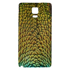Peacock Bird Feather Gold Blue Brown Galaxy Note 4 Back Case