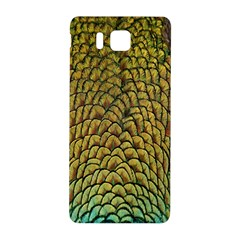 Peacock Bird Feather Gold Blue Brown Samsung Galaxy Alpha Hardshell Back Case