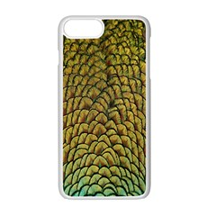 Peacock Bird Feather Gold Blue Brown Apple Iphone 7 Plus White Seamless Case by Alisyart