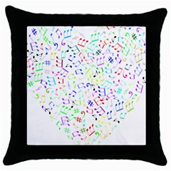 Prismatic Musical Heart Love Notes Rainbow Throw Pillow Case (black) by Alisyart