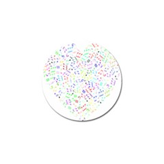 Prismatic Musical Heart Love Notes Rainbow Golf Ball Marker by Alisyart