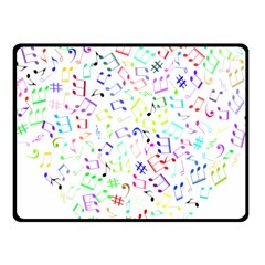 Prismatic Musical Heart Love Notes Rainbow Fleece Blanket (small)