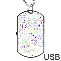 Prismatic Musical Heart Love Notes Rainbow Dog Tag Usb Flash (two Sides)