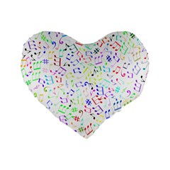 Prismatic Musical Heart Love Notes Rainbow Standard 16  Premium Heart Shape Cushions by Alisyart
