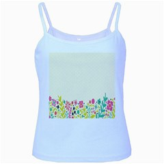 Spring Floral Flower Rose Tulip Leaf Flowering Color Baby Blue Spaghetti Tank