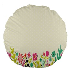 Spring Floral Flower Rose Tulip Leaf Flowering Color Large 18  Premium Round Cushions