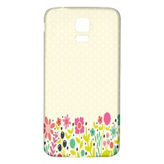 Spring Floral Flower Rose Tulip Leaf Flowering Color Samsung Galaxy S5 Back Case (white)