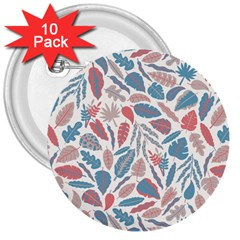 Spencer Leaf Floral Purple Pink Blue Rainbow 3  Buttons (10 Pack)