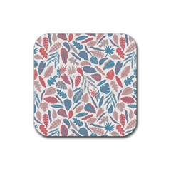Spencer Leaf Floral Purple Pink Blue Rainbow Rubber Coaster (square)  by Alisyart
