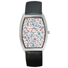 Spencer Leaf Floral Purple Pink Blue Rainbow Barrel Style Metal Watch by Alisyart