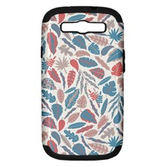 Spencer Leaf Floral Purple Pink Blue Rainbow Samsung Galaxy S Iii Hardshell Case (pc+silicone)