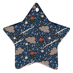 Spring Flower Floral Rose Rain Blue Grey Cloud Water Ornament (star)