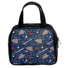 Spring Flower Floral Rose Rain Blue Grey Cloud Water Classic Handbags (2 Sides) by Alisyart