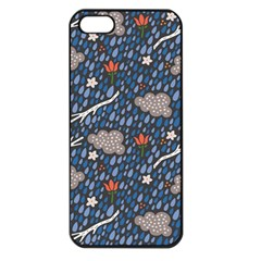 Spring Flower Floral Rose Rain Blue Grey Cloud Water Apple Iphone 5 Seamless Case (black)