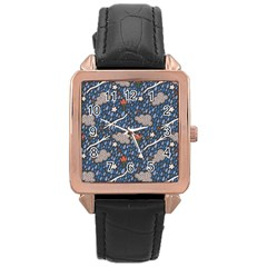Spring Flower Floral Rose Rain Blue Grey Cloud Water Rose Gold Leather Watch  by Alisyart