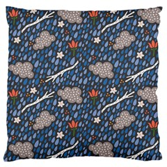 Spring Flower Floral Rose Rain Blue Grey Cloud Water Standard Flano Cushion Case (one Side) by Alisyart
