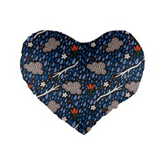 Spring Flower Floral Rose Rain Blue Grey Cloud Water Standard 16  Premium Flano Heart Shape Cushions