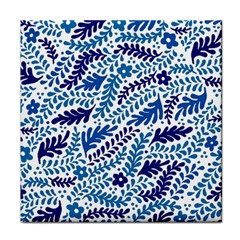 Spring Flower Leaf Blue Tile Coasters