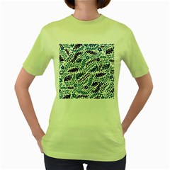 Spring Flower Leaf Blue Women s Green T Shirt