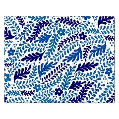 Spring Flower Leaf Blue Rectangular Jigsaw Puzzl by Alisyart