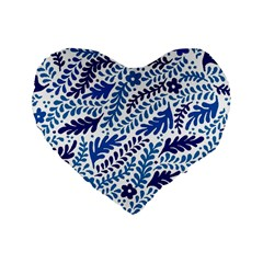 Spring Flower Leaf Blue Standard 16  Premium Heart Shape Cushions by Alisyart
