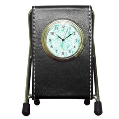 Spring Floral Green Flower Pen Holder Desk Clocks