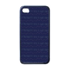 Summers Night Wave Chevron Blue Apple Iphone 4 Case (black)