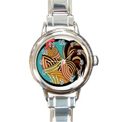 Rooster Poultry Animal Farm Round Italian Charm Watch by Amaryn4rt