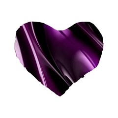 Purple Fractal Mathematics Abstract Standard 16  Premium Flano Heart Shape Cushions by Amaryn4rt