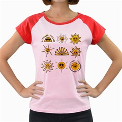 Sun Expression Smile Face Yellow Women s Cap Sleeve T Shirt