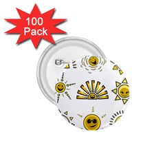 Sun Expression Smile Face Yellow 1 75  Buttons (100 Pack)
