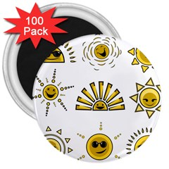 Sun Expression Smile Face Yellow 3  Magnets (100 Pack) by Alisyart