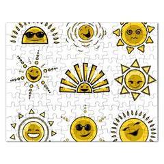 Sun Expression Smile Face Yellow Rectangular Jigsaw Puzzl by Alisyart