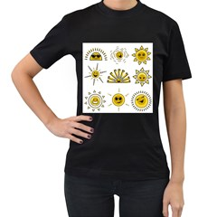 Sun Expression Smile Face Yellow Women s T Shirt (black) (two Sided)