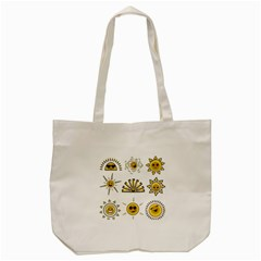Sun Expression Smile Face Yellow Tote Bag (cream) by Alisyart