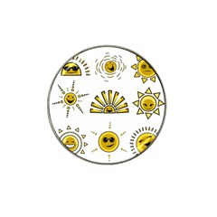 Sun Expression Smile Face Yellow Hat Clip Ball Marker (10 Pack) by Alisyart