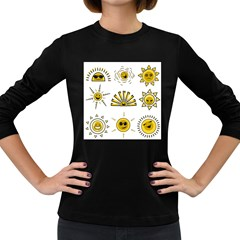 Sun Expression Smile Face Yellow Women s Long Sleeve Dark T Shirts