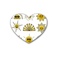 Sun Expression Smile Face Yellow Rubber Coaster (heart)  by Alisyart